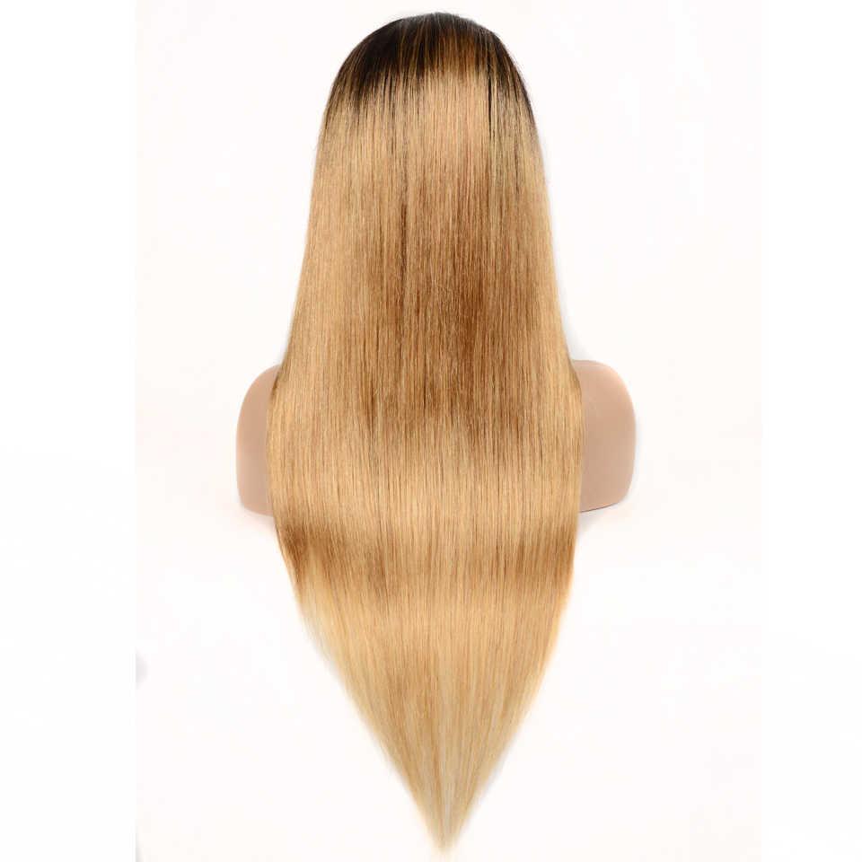Омбре блонд цвет 1B/27 кружева передние человеческие волосы парики с волосами младенца 13*4 прямые бразильские волосы remy парик шнурка для черных женщин