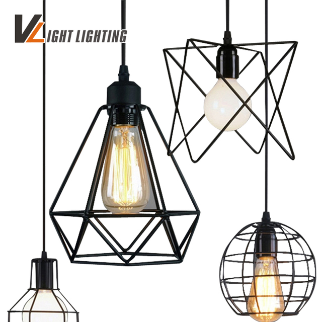 Vintage Indoor Lighting Retro Iron Painted Pendant Light 16 Variety Cage Lampshade American Country Style