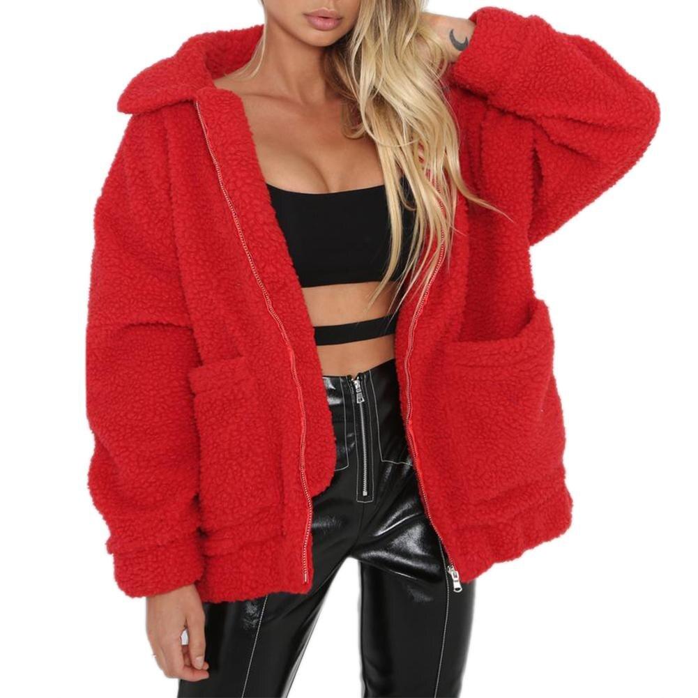 Mode Revers Sweatshirt Fleece Pelzmantel 2018 Frauen Herbst Winter Warme Weiche Jacke Dicken Plüsch Zipper Mantel Kurze Oberbekleidung