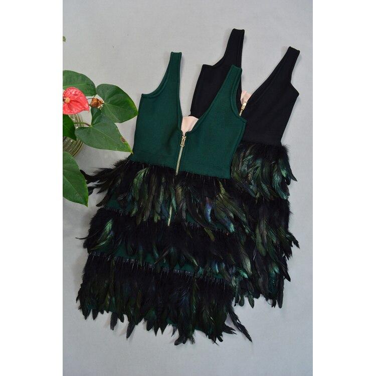 Noir Plumes Nouvelles Moulante Haute Soirée Sans Robes cou 2019 Femmes Qualité Robe vert Bandage Manches Vert Célébrité V De Noir 0O08Uxrq