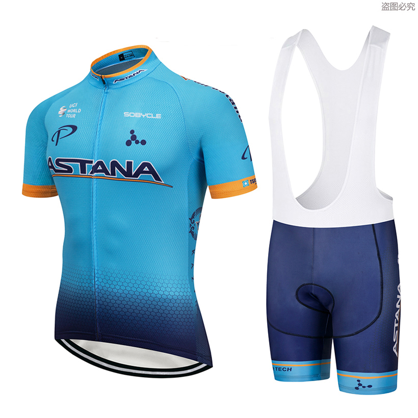 2018 ASTANA team Summer Pro sporting Racing UCI world tour Blue pro cycling jersey Bike shorts set ropa ciclismo bicycle wear