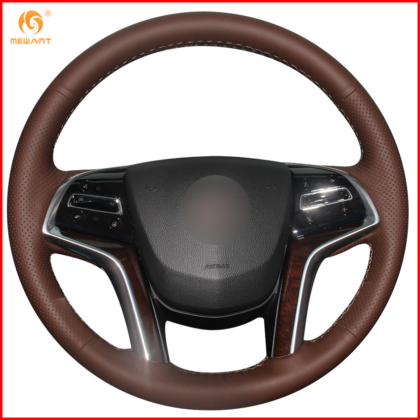 2013 Cadillac Xts Interior: MEWANT Coffee Genuine Leather Car Steering Wheel Cover For