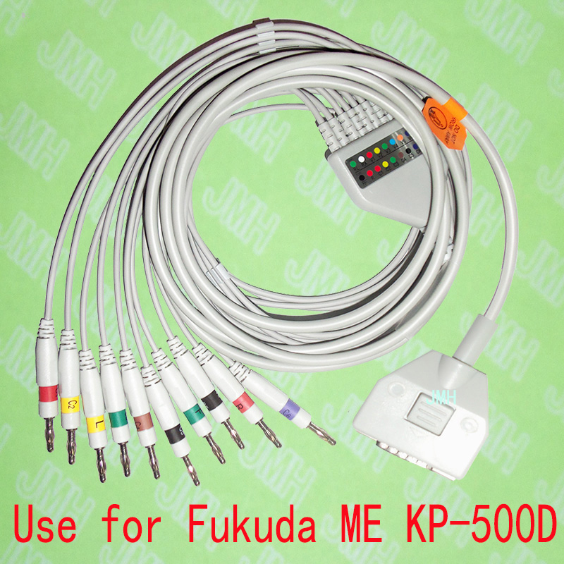 Compatible with Fukuda ME KP-500D EKG 10 lead,One-piece ECG cable and leadwires,15PIN,4.0 Banana,IEC or AHA.