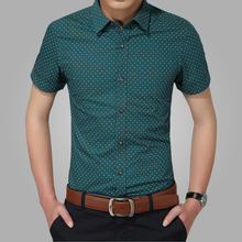 men shirts   collar slim fit mens chemise homme casual summer beach dot shirt short sleeve printed 5xl