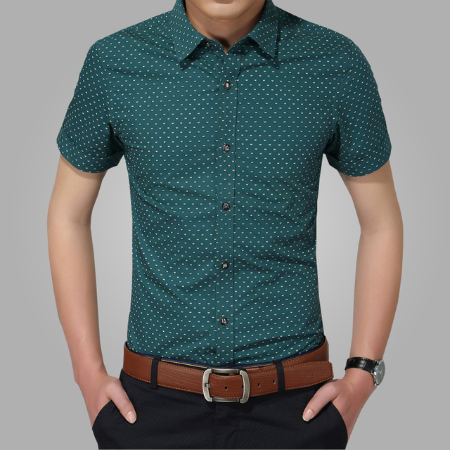 2016 nuevos hombres camisas de marca Turn down Collar Slim Fit hombres Chemise Homme Casual playa de verano Dot manga corta impresa 5XL