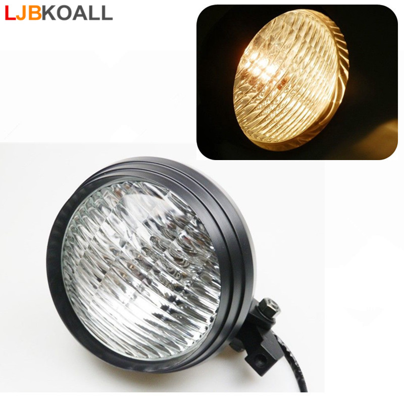 5.75 5 3/4 Black Round Universal Motorcycle Headlight Headlamp Amber H4 Halogen Front Light for Honda Yamaha Suzuki Kawasaki