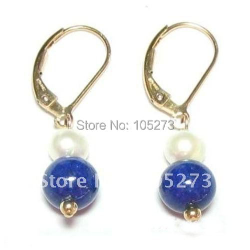 New Arrive Chirstmas Jewelry !Stunning Genuine White Pearl & Lapis Bead Earrings Fashion Party Wedding Earring