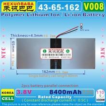 [V008] 3,8 в, 3,7 в 8400 мАч [4365162] полимерный литий-ионный/литий-ионный аккумулятор для планшетных ПК, банка питания, сотового телефона, электронной книги