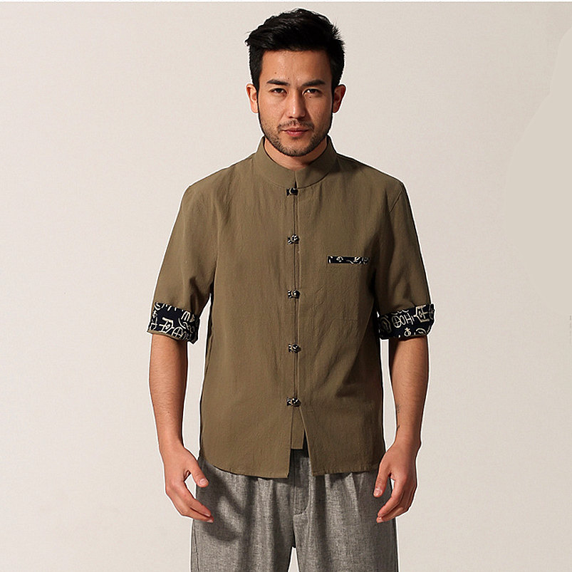 New Army Green Mens Cotton Linen Kung Fus