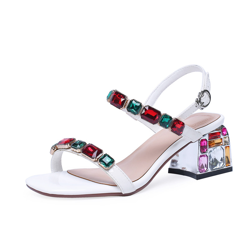 MORAZORA 2019 new arrival patent leather sandals women summer shoes crystal buckle Beach shoes simple party wedding shoes woman-in High Heels from Shoes    2