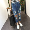 2016 new fat MM waist jeans eighth hole jeans woman boyfriend jeans for women ripped jeans for women Large size women