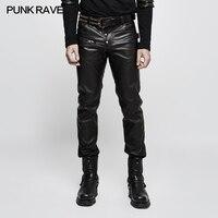 Punk Rave Mens Pants Steampunk Fashion Street Style Faux Leather Pants Trousers Hip Hop Pants Long Pants