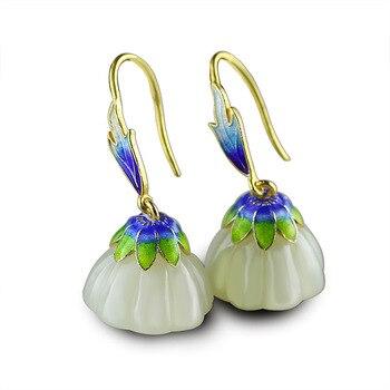 2018 Real Promotion Brinco Women S925 Pure Ornaments Ethnic Wind Bluing Hetian Jade Lotus Eardrop Fortune