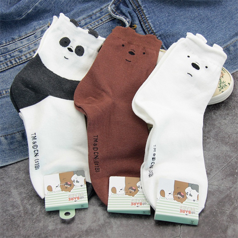 3 Pairs New Cute We Bare Bears Socks Women Soft Breathable Cotton Socks Ankle-High Casual Socks Fashion Style Cartoon Sock