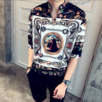 2017 Royal Palace Shirts Mens Fancy Shirts Floral Print Luxury Chemise Homme Baroque Shirts Mens Camisa