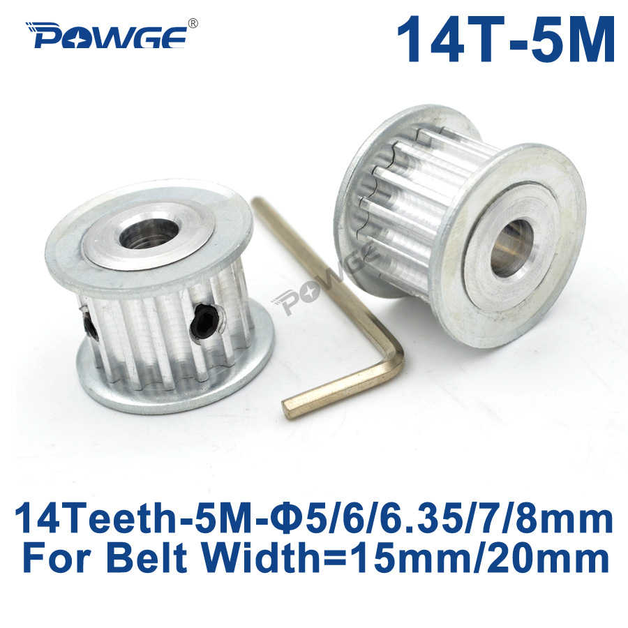POWGE HTD 5M 14 Teeth Synchronous Timing Pulley Bore 5/6/6.35/7/8mm for Width 15/20mm HTD5M Belt gear 14-5M-15 AF 14Teeth 14T