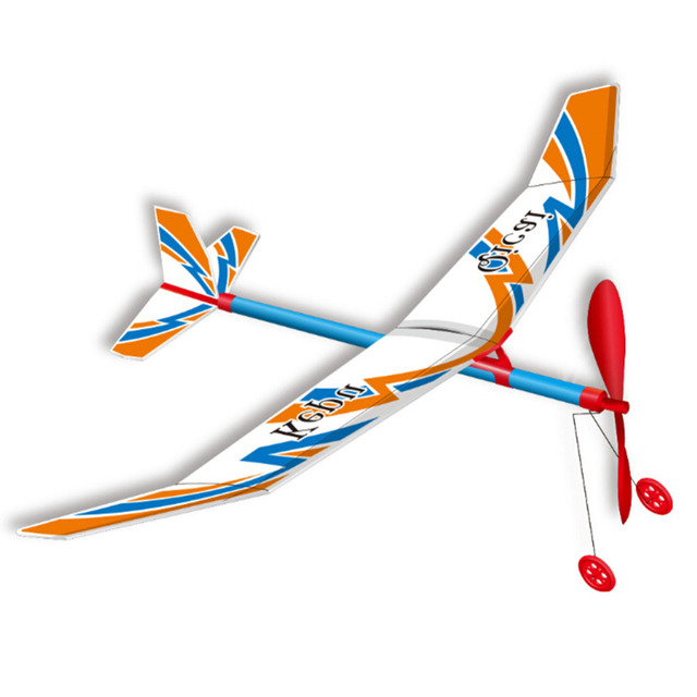 baby kids abs plastic handmade rubberband power flying aircraft airplane glider educational creative children model toys