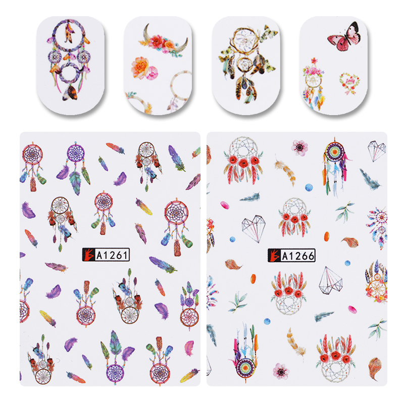 1 Big Sheet 12 Patterns Nail Water Decal  Dreamcatcher Manicure Nail Art Transfer Sticker Decoration A1261-A1272 1 sheet beautiful nail water transfer stickers flower art decal decoration manicure tip design diy nail art accessories xf1408