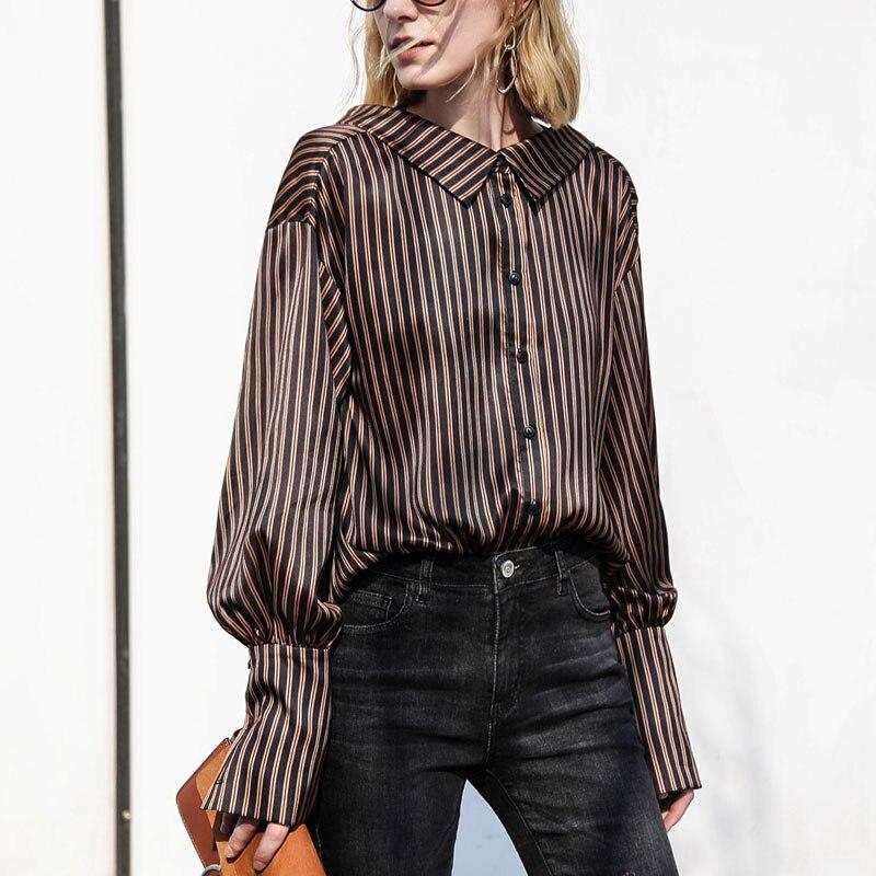 Amii минималистский Для женщин 2018 Осенняя блузка Винтаж Chic Фонари Длинные рукава в полоску женские блузки рубашки
