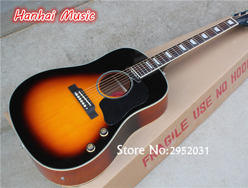 Free Shipping 41 Inch Folk Acoustic Guitar Tobacco Sunburst Color