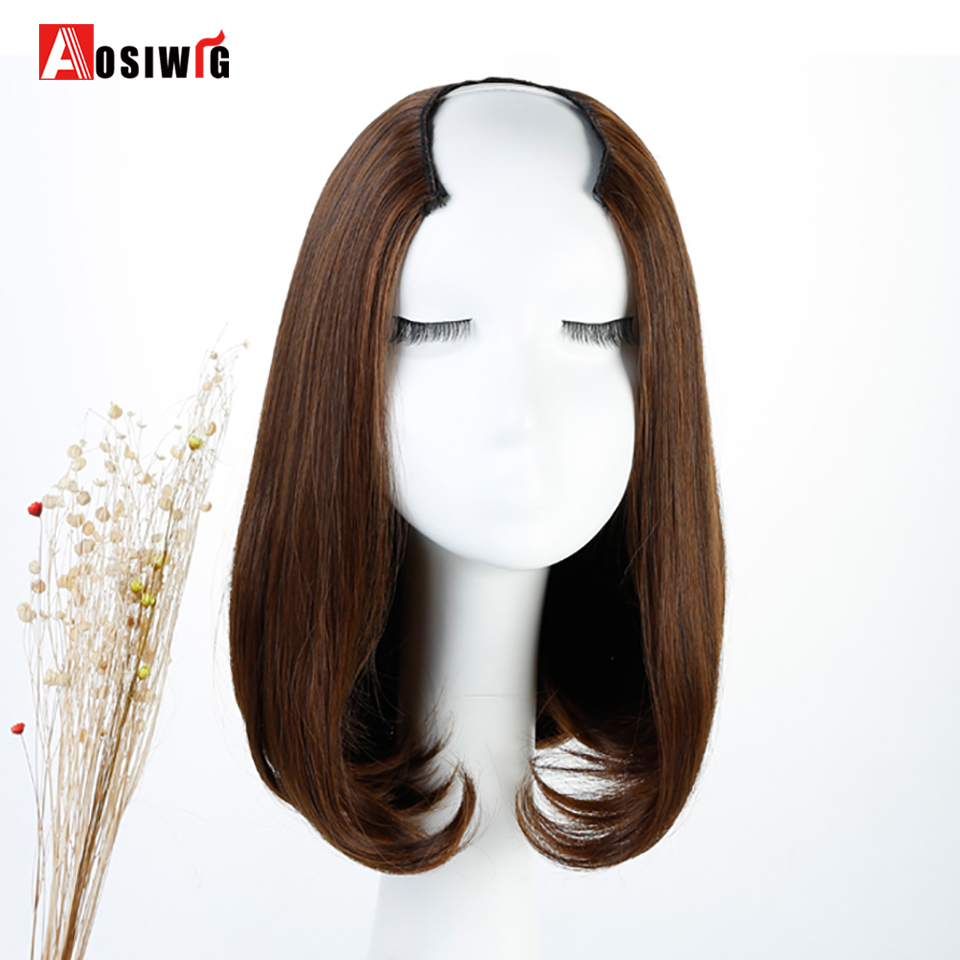 AOSIWIG Short Straight Bob Synthetic Half Wig Halloween Party High Temperature Fiber Cosplay Wig for Women