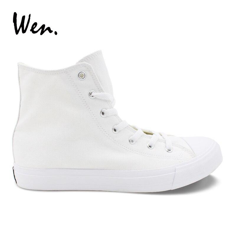 ון מוצק צבע לבן נעליים יומיומיות Mens נשים Vulcanized סניקרס גבוהה למעלה בד דירות נעל תחרה עד נעליים בתוספת גודל 48 49