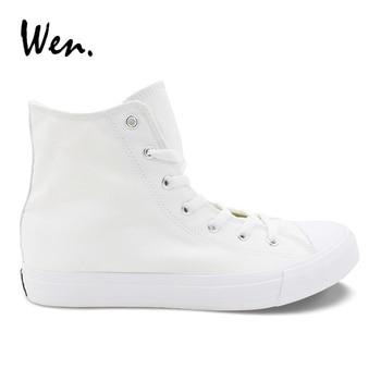 Wen Color sólido blanco Hombre Zapatos casuales zapatos de mujer vulcanizados zapatillas de deporte de lona planos zapatos de calzado Plus tamaño 48 49