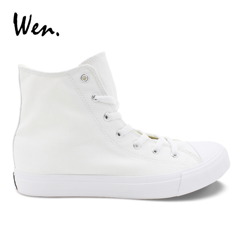 Wen Solide Couleur Blanc Casual Chaussures Hommes Femmes Vulcanisée Sneakers High Top Toile Appartements Chaussures à Lacets Chaussures