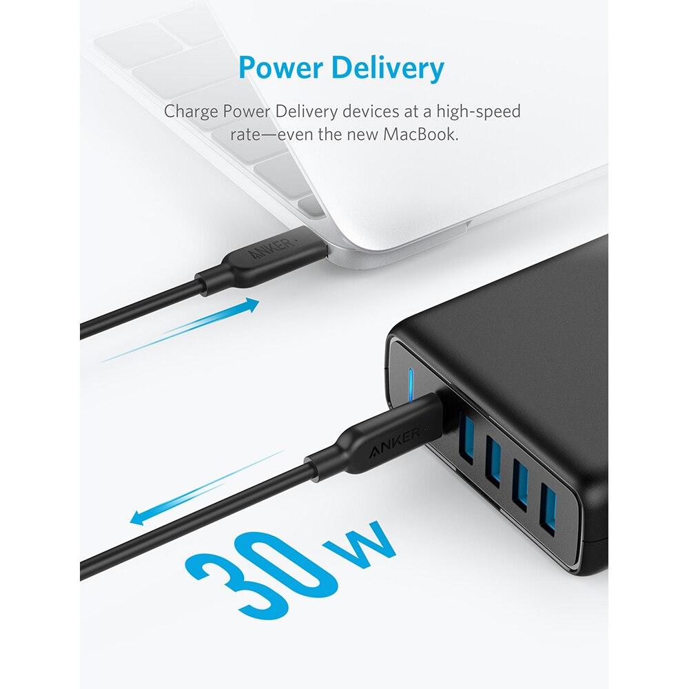 BEST PRICE) Anker USB C Premium 60W 5 Port Desktop Charger