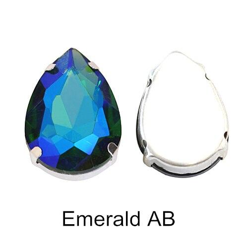 5 размеров красочные стеклянные хрустальные серебряные коготь пришивные стразы с коготь капли воды красные Пришивные коготь стразы для одежды B0403 - Цвет: Emerald AB