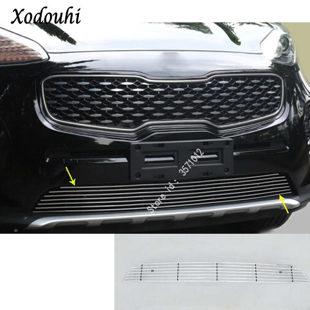 car auto body protection detector stainless steel trim Front up Grid Grill Grille panel 1pcs for Kia Sportage KX5 2016 2017 2018 2 pcs set stainless steel car air vent circle trim air conditioner protection sticker for kia sportage kx5 ql 2016 2017 parts