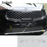 car auto body protection detector stainless steel trim Front up Grid Grill Grille panel 1pcs for Kia Sportage KX5 2016 2017 2018