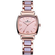 NEW Brand Luxury Womens Quartz Watch Alloy Simulated Ceramic Strap Watch Female ROSE Gold with BOX