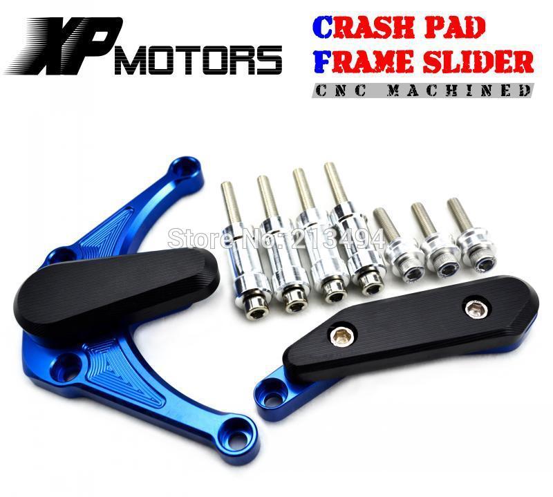 Blue CNC Engine Stator Crankcase Sliders Crash Pads For Yamaha YZF-R1 2009 2010 2011 2012 2013 2014