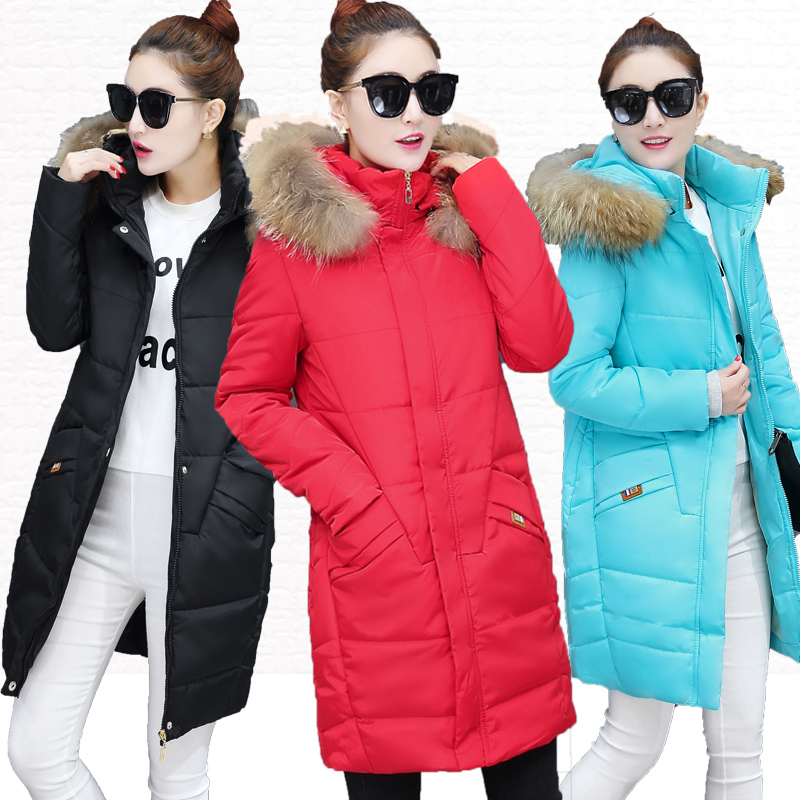 winter wadded jacket female medium-long fur collar slim down thickening cotton-padded jacket mm plus size cotton-padded bs7217 new 2017 winter down cotton padded jacket parka outerwear medium long plus size clothing wadded jacket loose thickening female