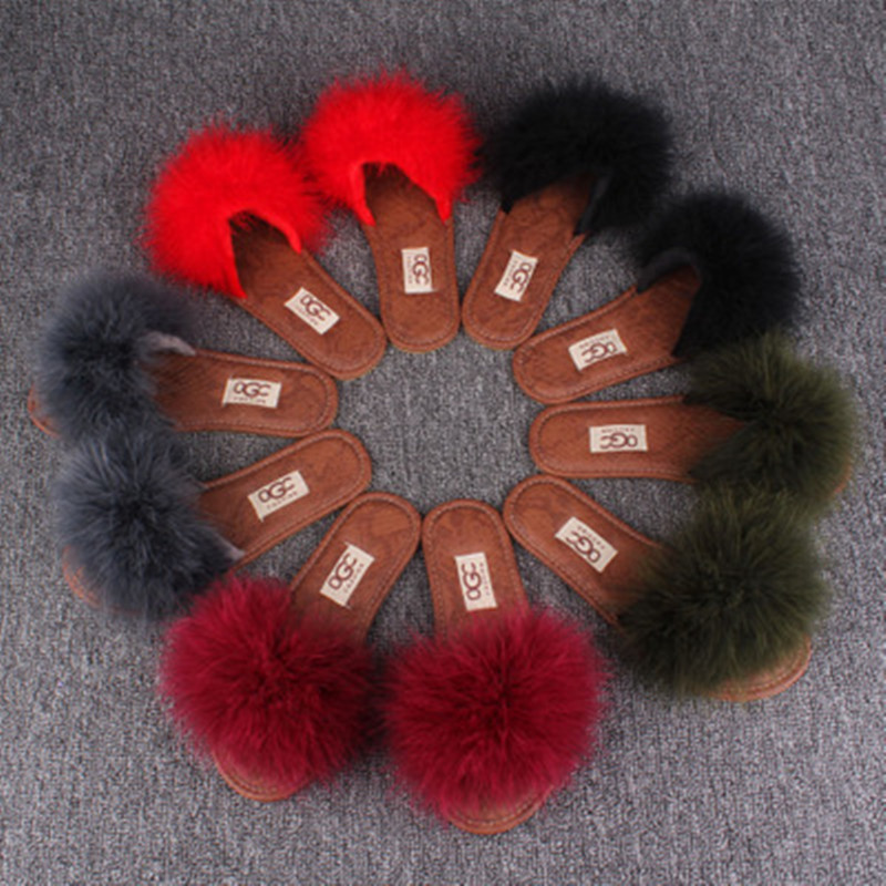 Clearance Sale Summer Autumn Women Home Plush Slippers With Fur Ladies Floor Bedroom Flip Flops zapatos de mujer Flat Shoes 2