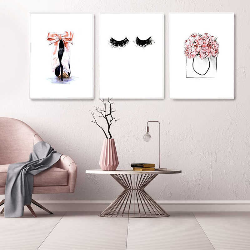 High Heel Wall Art Pictures for Girl Bedroom Decor Pink Canvas Painting Eye Lashes Posters and Prints Modern Home Decor Framed