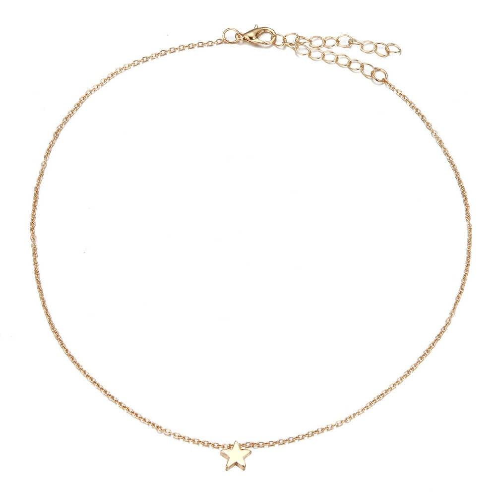 ผู้หญิงทองชุบเงินขนาดเล็กหัวใจสร้อยคอ Bijoux สำหรับผู้หญิงปลอกคอแฟชั่นเครื่องประดับ Collarbone จี้สร้อยคอ