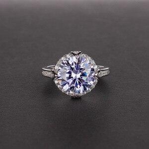 Image 2 - OneRain 100% 925 סטרלינג כסף נוצר Moissanite עגול לחתוך חן חתונת אירוסין זהב לבן טבעת תכשיטי מתנה סיטונאי