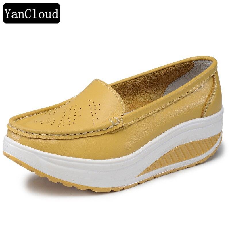 4c076841d9 Sapatos de Trabalho de verão Sapatos de Plataforma de Enfermeira Mulheres  Elevador de Couro Genuíno Sapatos Casuais Hollow Wedges Slip On Grosso Sola  Buraco ...