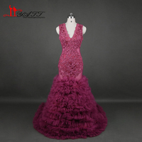 Vestidos Sheer Burgundy Mermaid Prom Dresses 2017 Black Girl Sexy Backless Appliques Tiered Skirt Party Gowns