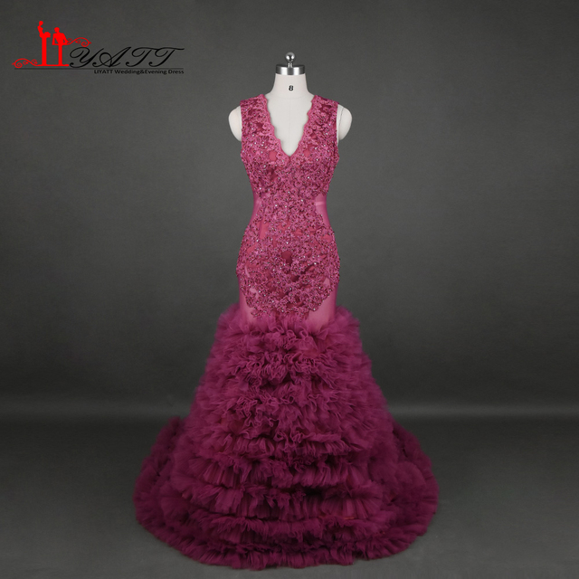 Liyatt Real Photos Burgundy Mermaid Prom Dresses 2017 Black Girls Sexy Backless Appliques Tiered Skirt Party Evening Dress LY581
