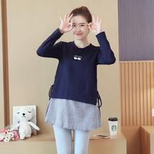 1846# Осенняя корейская мода для беременных рубашки с длинным рукавом Line одежда в стиле пэчворк для беременных Для женщин Беременность Топы туники