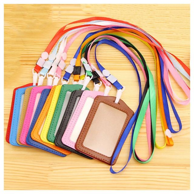 10 шт PU кожаный карман ID карты пропуска значка Держатель чехол с шеей ремень ремешок, вертикальный