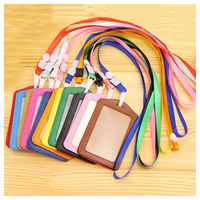 10Pcs PU Leather Pocket ID Card Pass Badge Holders Case With Neck Strap Lanyard, Vertical