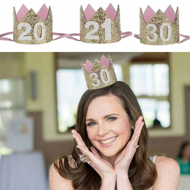 Number 20th 21th 30th 20 21 30 Years Older Adult Birthday Hat Princess Crown Tiara Anniversary Party Decoration Hair Accessories