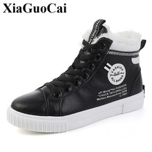 цена на Women Cotton Shoes for Winter Warm Fleeces Snow Boots with Fur High Top Lace-up Sneaker Anti-skid Waterproof Student Ankle Boots