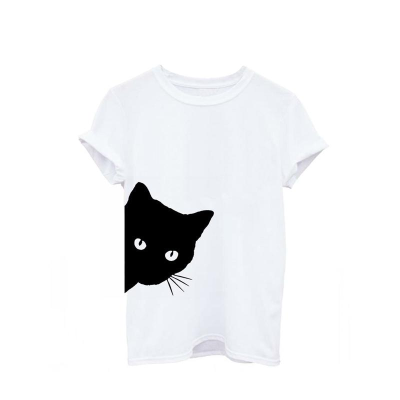 Plus Size S-XL Harajuku Summer T Shirt Women New Arrivals Fashion Cat Print T-shirt Women Casual O Neck Short Sleeves Tee Tops