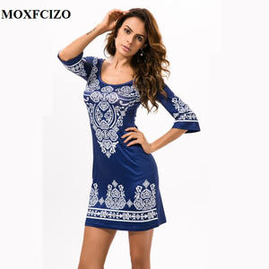 MOXFCIZO Boho Vintage Summer Beach Shirt Short Dress Women 949ab4265