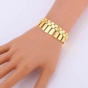 Image 4 - Ensemble de collier avec Bracelet, boucles doreilles et boucles doreilles, ensemble de bijoux tendance pour femmes, couleur or/argent, ras du cou africain, S462